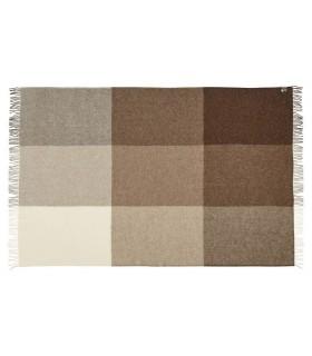Plaid de carrés marron glaçé beige et écru pure laine