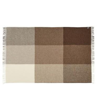 Plaid de carrés marron glaçé beige et écru pure laine scandinave