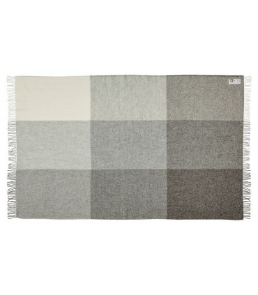 Plaid de carrés en pure laine scandinave gris ou marron