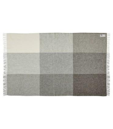 Plaid de carrés gris et écru pure laine scandinave