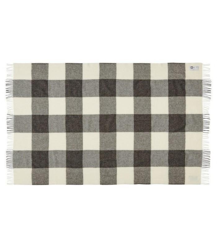 plaid gris carreaux en pure laine vierge scandinave. Black Bedroom Furniture Sets. Home Design Ideas