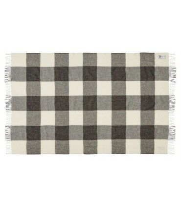 Grey throws with squares pure wool Scandinavian 140 x 240 cm