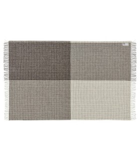 Plaid en pure laine vierge scandinave carreaux bege ecru gris