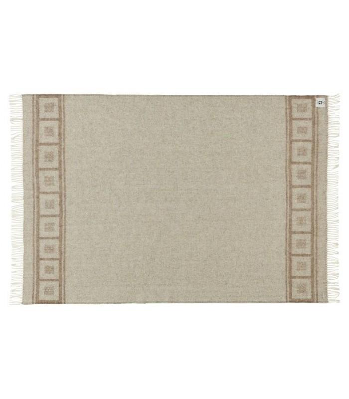 Plaid beige et écru motif géometrique carrés pure laine scandinave