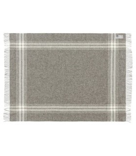 Plaid en pure laine vierge scandinave gris carreaux