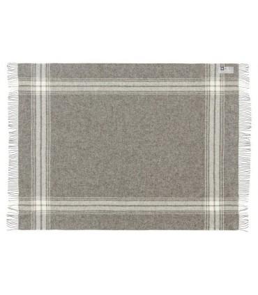 Plaid gris à rayures en pure laine vierge scandinave 130x200 cm