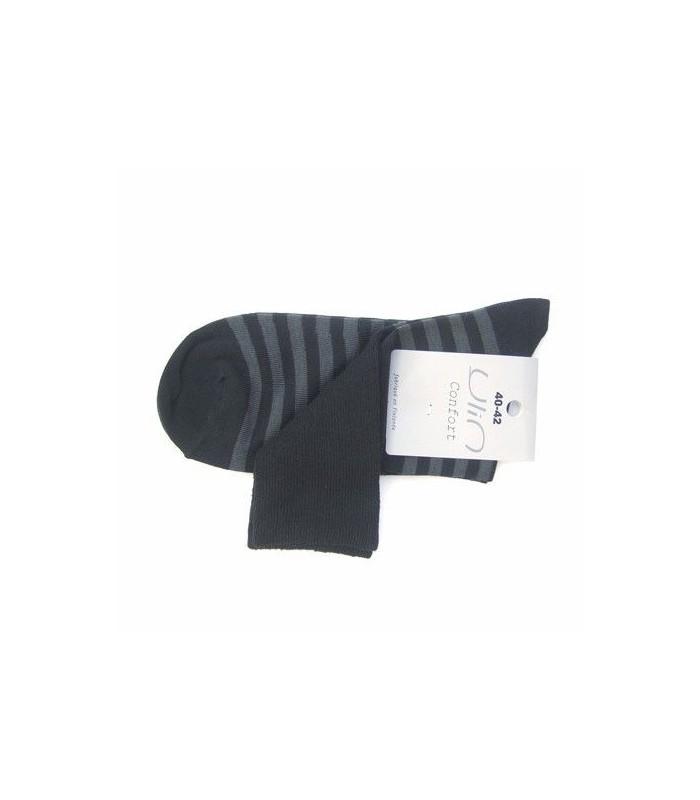 Chaussettes rayées coton non comprimantes noir gris