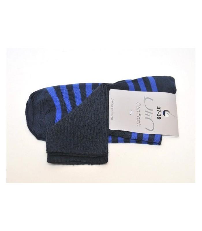Chaussettes rayées coton non comprimantes marine bleu