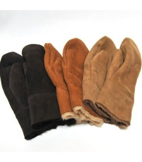 Genuine lambskin Men's Mittens nuts