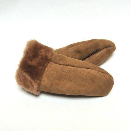 Moufles peau agneau moka