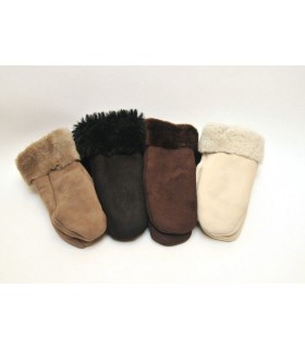 Black women mittens sheepskin