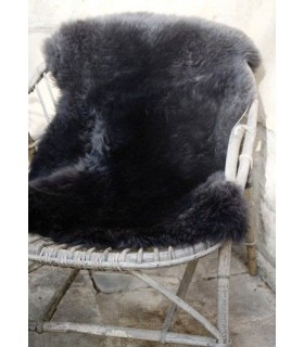 Grandes Peaux de mouton décoration gris noir