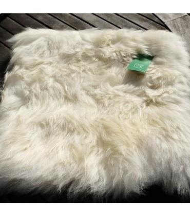 Housse de coussin en peau d'agneau véritable écru