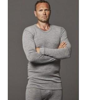 Maillot homme col rond manches longues pure laine mérinos écru, gris ou bleu