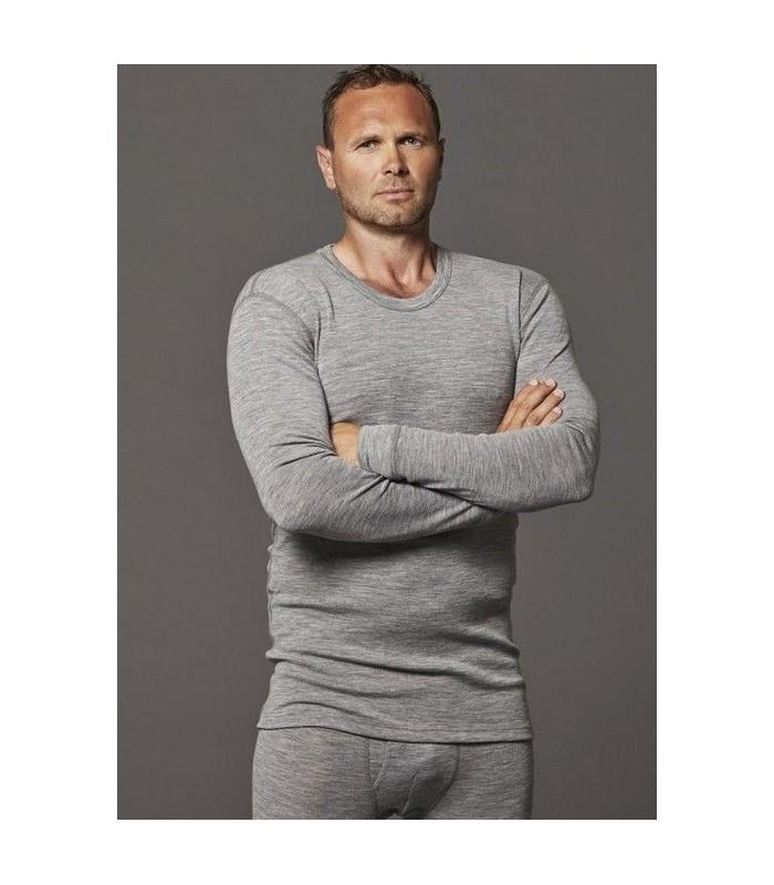 Maillot homme en pure laine mérinos manches longues gris
