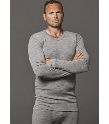 Men's shirt long sleeves pure Merino Wool blue, grey, off-white