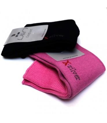 Chaussettes non comprimantes en coton et ions d'argent pieds sensibles