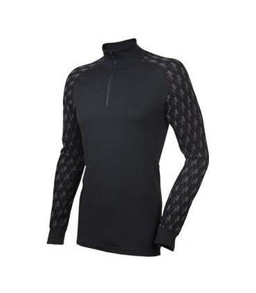 Long sleeves men polo Shirt merino wool and protecting collar