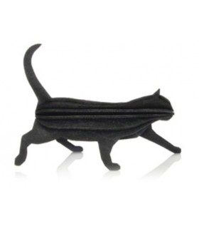 Chat noir bois de bouleau LOVI décoration carte postale