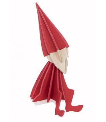 Elfo rojo de madera LOVI una postal de decoracion