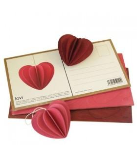 Décoration coeur rouge foncé et carte postale bois de bouleau LOVI