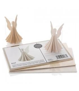 Décoration ange blanc et carte postale bois de bouleau LOVI