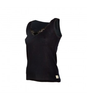 Tank top black woman 100% Merino Wool