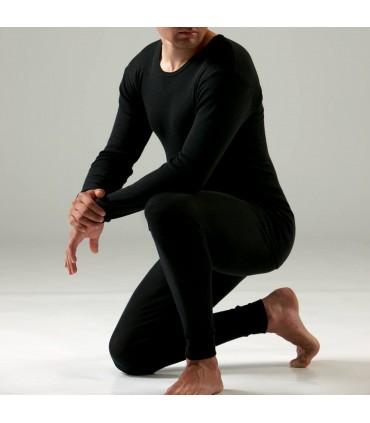 Caleçon leggins homme en laine et soie noir
