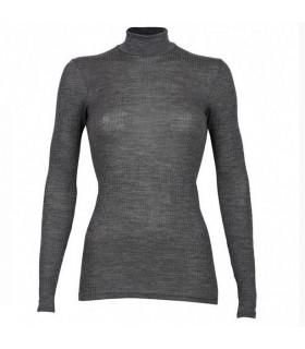 Maillot femme col montant pure laine mérinos gris ou noir côtelé
