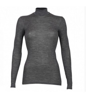 Women's high neck long sleeves shirt in pure ribbed merino wool grey