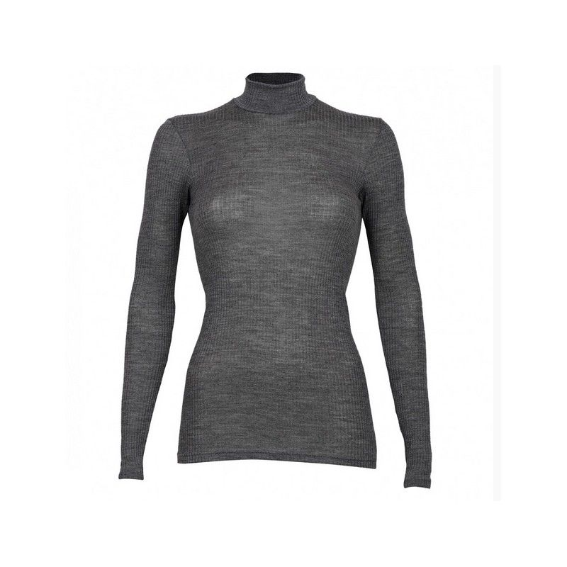 Women 39 s high neck long sleeves shirt in pure ribbed merino for Merino wool shirt womens