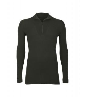 Men's ZIP collar shirt long sleeves in pure black kaki merino wool