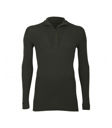 Men's ZIP collar shirt long sleeves in pure black kaki merino wool