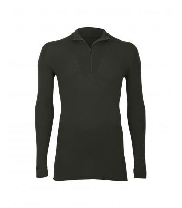Merino Shirt mit Reißverschluss für Herren dunkelgrün oder Schwarz