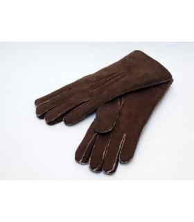 gants luxueux peau agneau marron foncé