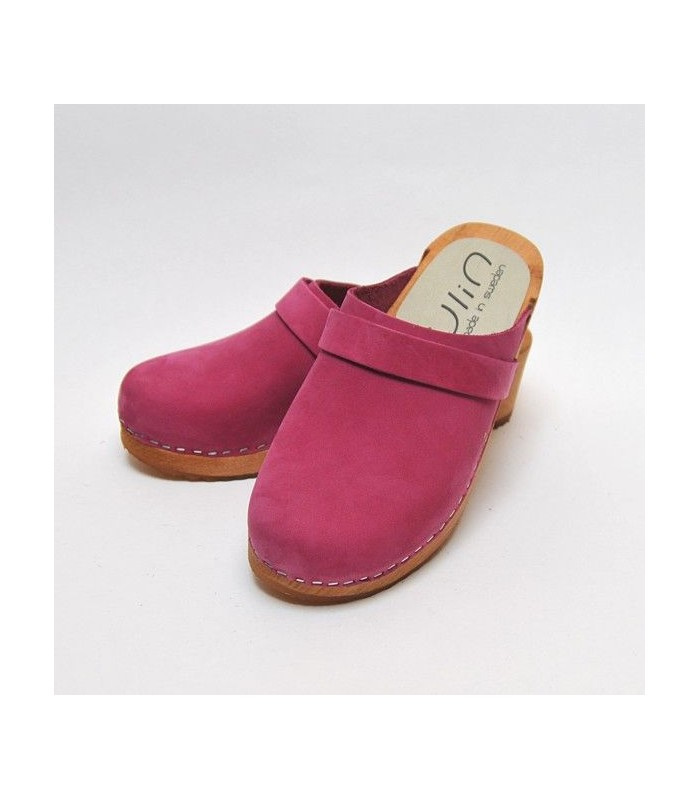 Women's Swedish clogs in nubuck peach leather and wooden sole