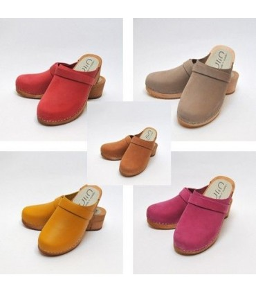 Women's Swedish clogs in nubuck leather and wooden sole