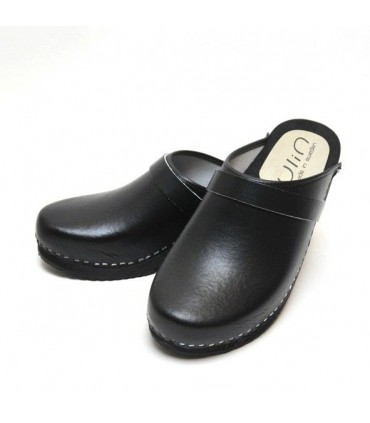 Men's Swedish Clogs leather and wood