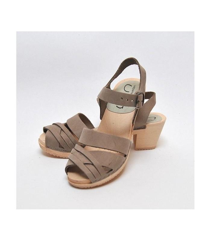 Sandales femme cuir à talon haut bois gris galet