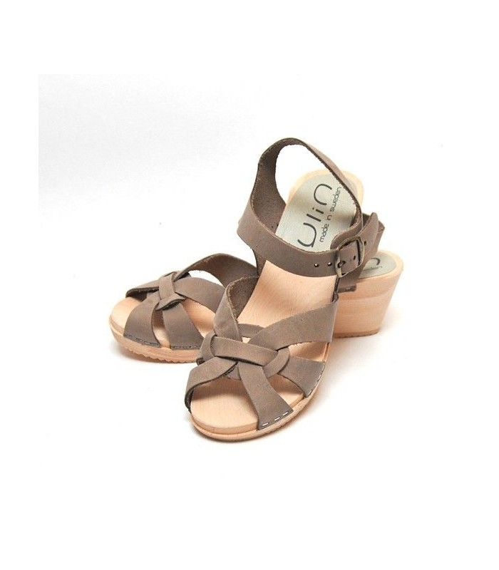 Wood Hihheel Swedish Sandals Woman Buckle Vegetal Leather