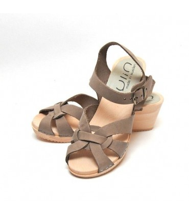 Women high heels Swedish wooden Sandals in leather
