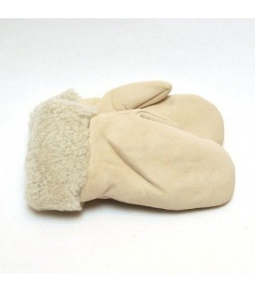 Women Mittens in wooly genuine lambskin