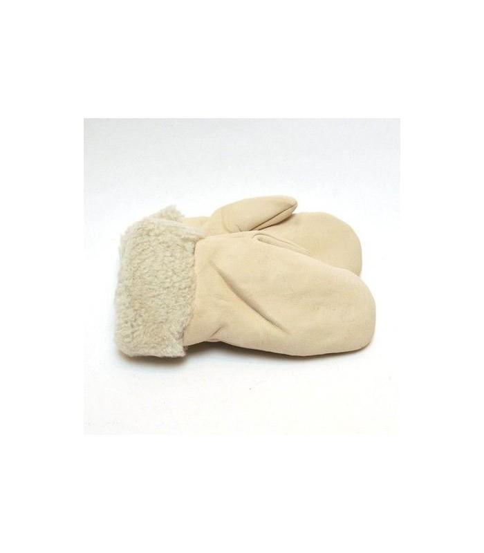 Moufles Femme en peau d'agneau retournée beige naturel