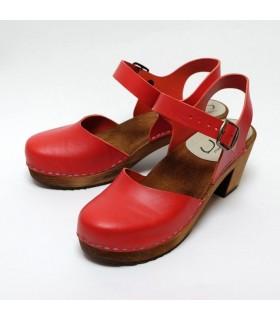 Sueco madera y salvaje de cuero a mujer tops y novias Zapato tacón
