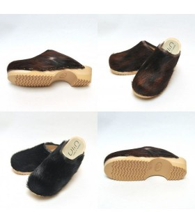 Holz clogs in echtes Kuhfell