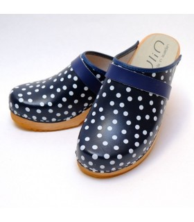 Women heels high wooden Swedish clogs and leather with polka dots
