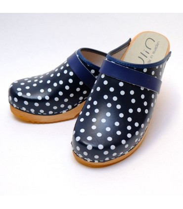 Women wooden Swedish clogs and leather with polka dots