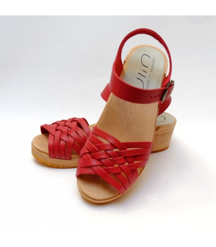 Swedish wooden Sandals braided vegetal leather for woman
