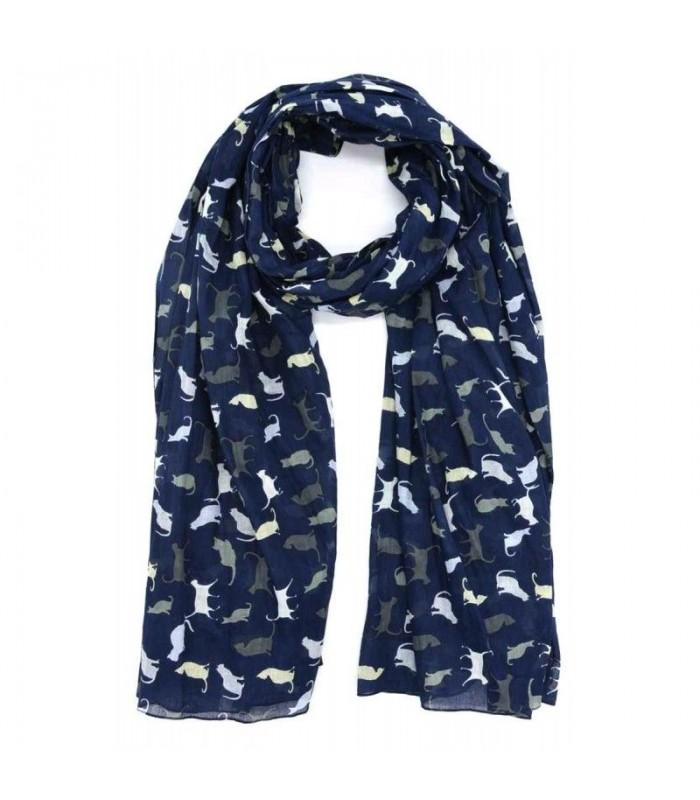 Grand foulard motif chats en pur coton