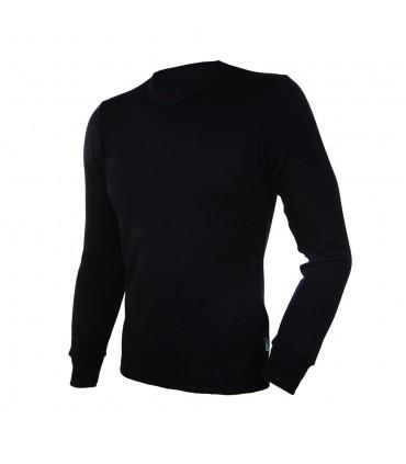 Maillot homme manches longues en pure laine mérinos noir